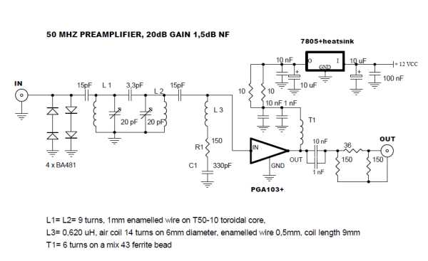 50 MHz high dynamic and low noise RF preamplifier